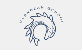 School Logo Design - Varndean School logo simple line only version with curved type