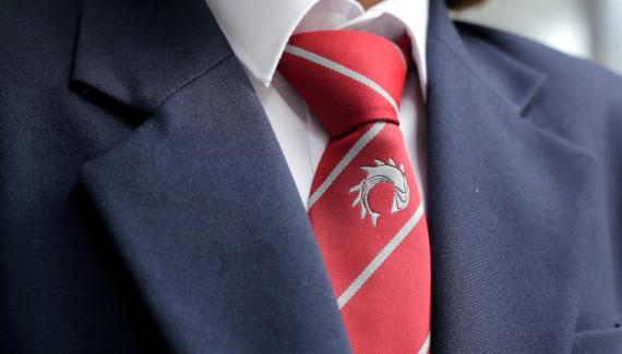 Varndean School logo on uniform tie