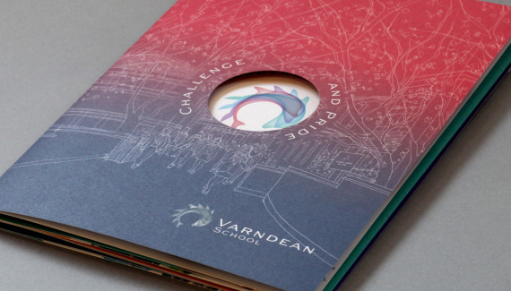Varndean School printed die cut prospectus which doubles up as a poster
