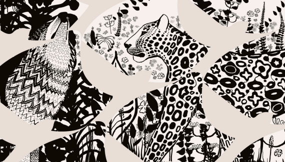 School Wall Art - leopard and wolf detail - designed by Toop Studio