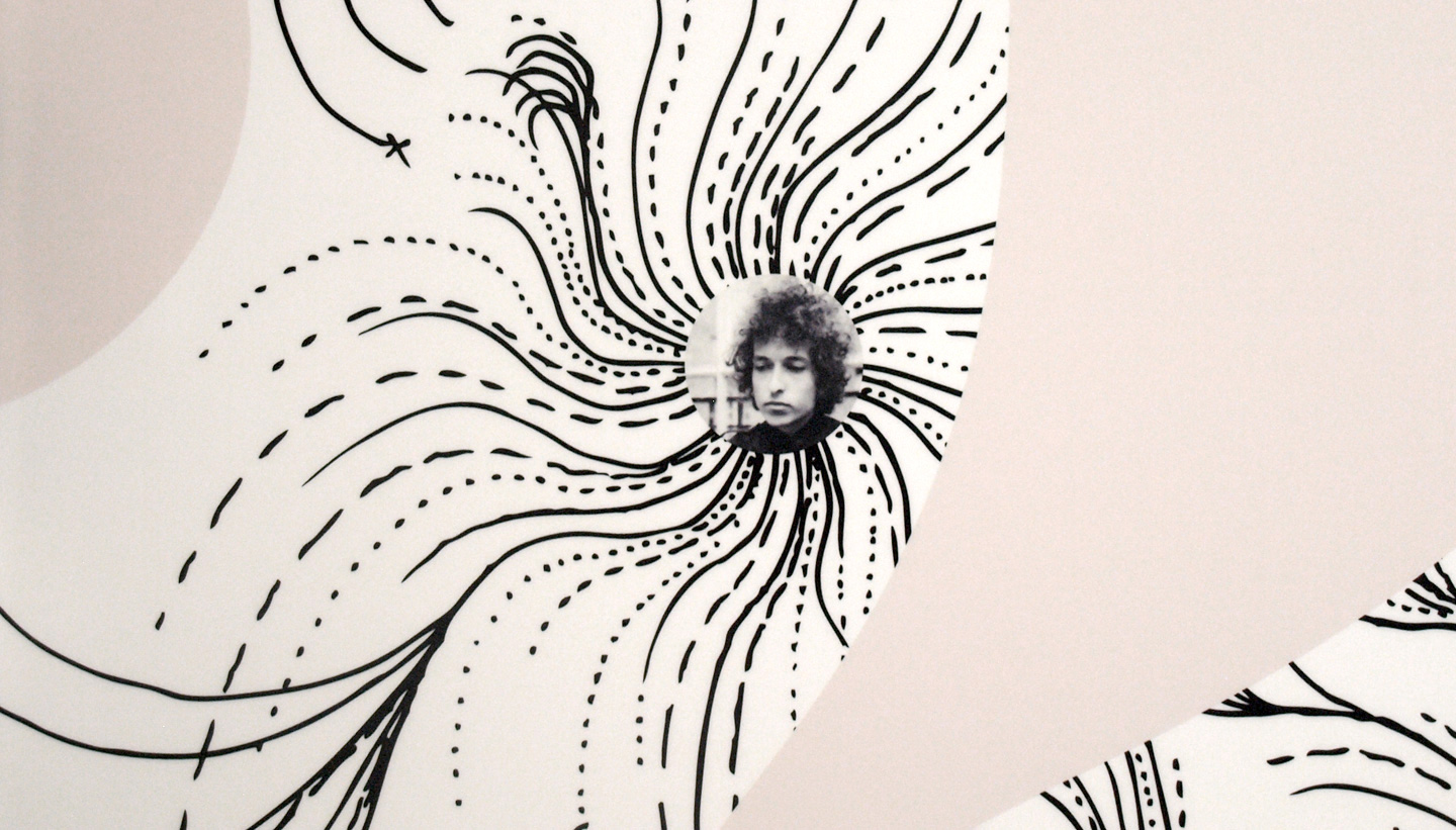 School wall art - Varndean School Foyer wall design close up detail showing Bob Dylan at the centre of swirling abstract drawing