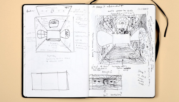 Page from Shadric Toop's sketchbook showing wall designs