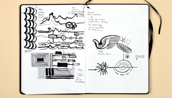 Page from Shadric Toop's sketchbook showing drawings of abstract patterns based on textile designs
