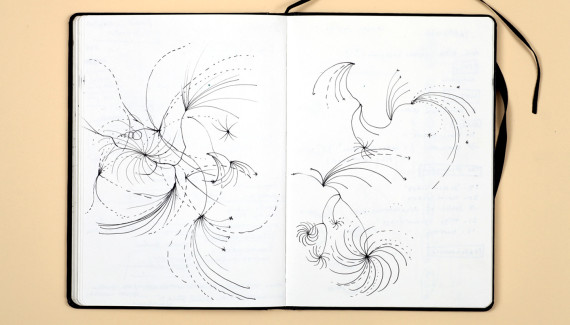 Page from Shadric Toop's sketchbook showing drawings of abstract swirling patterns