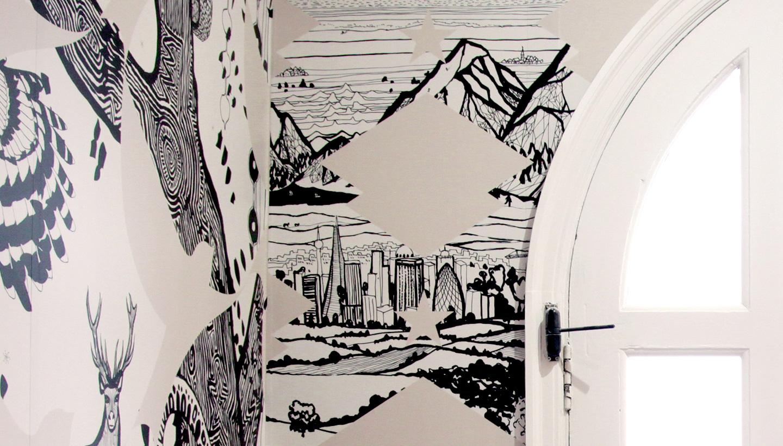 School wall art - Detail of Varndean wall graphic showing landscape - Toop Studio