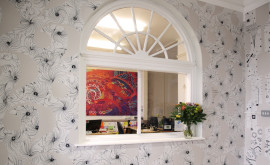 School wall art - Varndean School foyer reception wall design with window