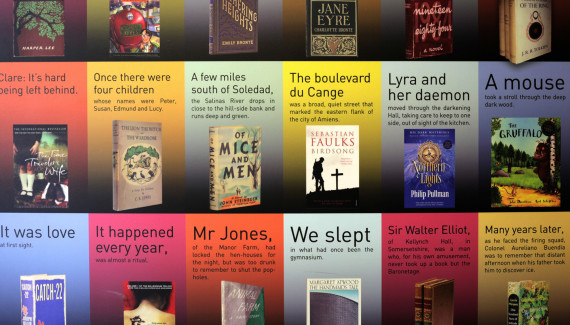 School wall graphic detail showing first lines and original covers of top 100 books of all time