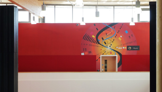 Wellington Academy Music wall abstract colourful circular design over the entrance of music department