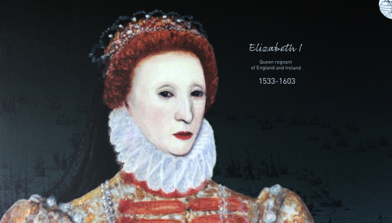 Wellington Academy history timeline detail of painting of Queen Elizabeth I