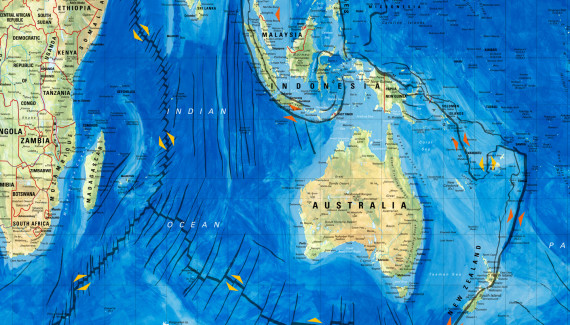 Wellington Academy Geography wall graphic showing Gall Peters projection world map detail featuring Australia