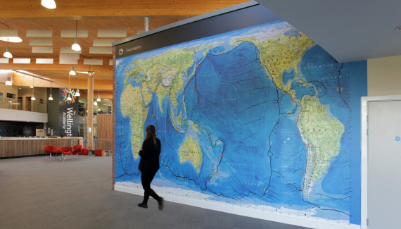 Wellington Academy Geography wall graphic showing Gall Peters projection Pacific centred world map