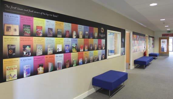 School wall graphic - Wellington Academy English wall featuring the top 100 books of all time