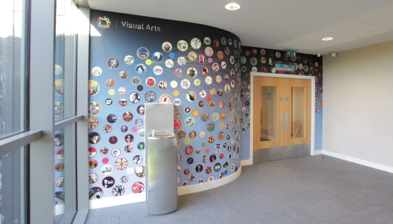 Wellington Academy School wall entrance to the music department contains a network of the history of the visual arts