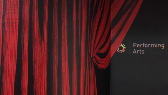Wellington Academy performing arts wall based on a stage curtain detail