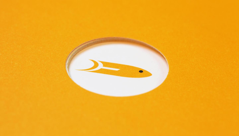 Yellow Fish original logo detail of cover of brochure