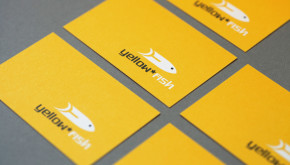 Yellow Fish Events Brighton original logo on business cards