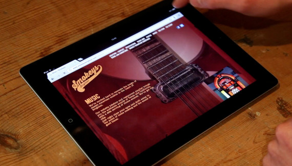 smokeys restaurant website page about music on ipad