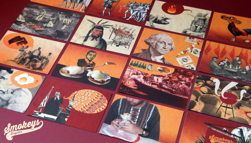 Postcard designs - The Story of Brunch & BBQ - Smokeys Brighton