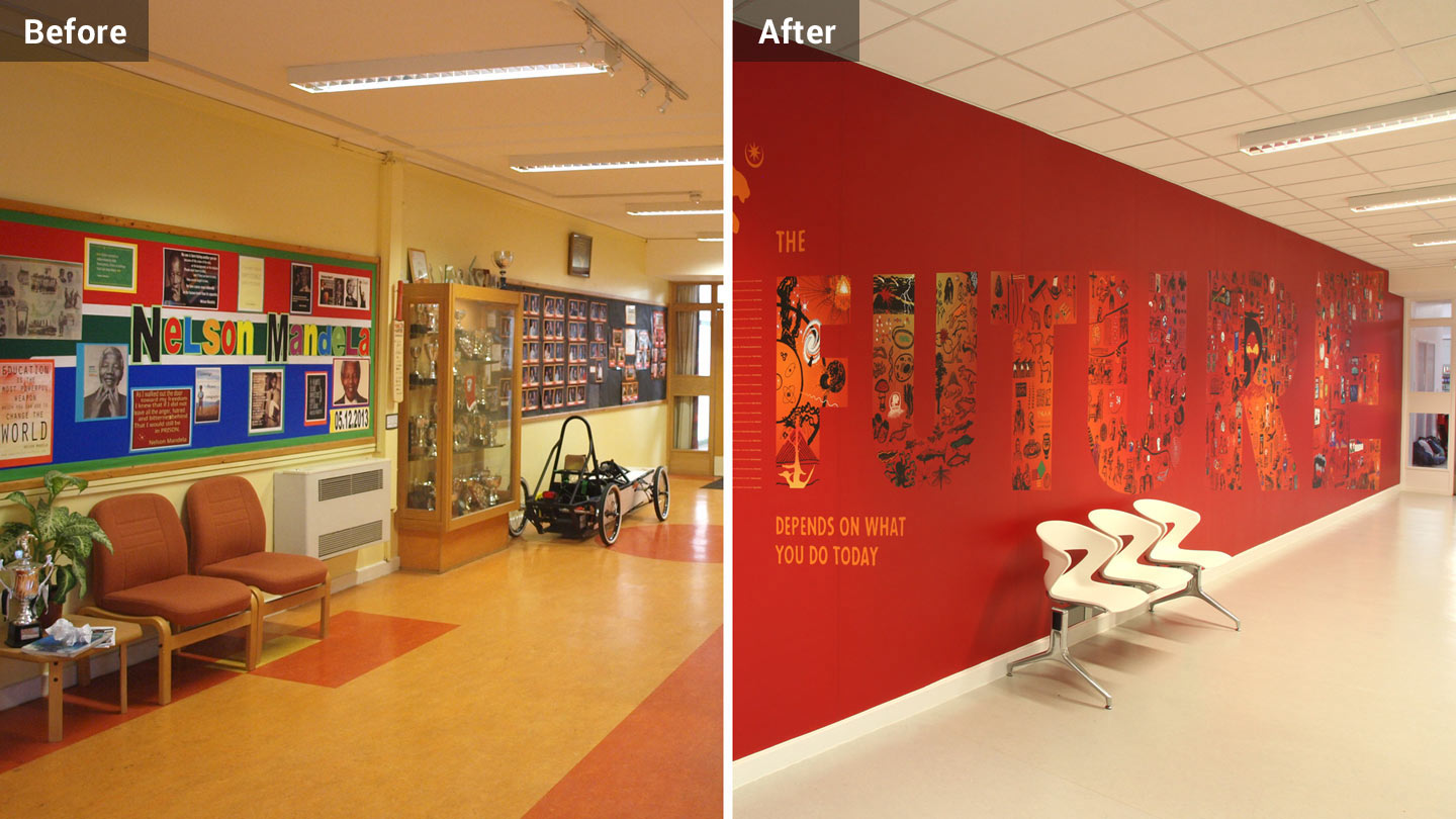 wall design wall graphics in springfield school before and after comparison toop studio brighton - Wall Graphic Designs