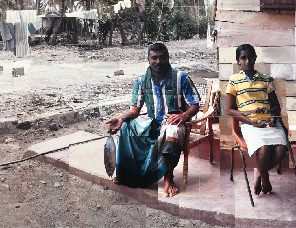 Vipula, Thotamuna fisherman and his neice detail sitting outside a wooden shack 4 months after the boxing day tsunami Sri Lanka