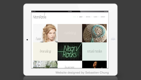 Neon Rocks website ipad designed by Seb Chung