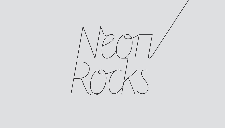 Logo design - upward tail version - for Neon Rocks Brighton PR agency
