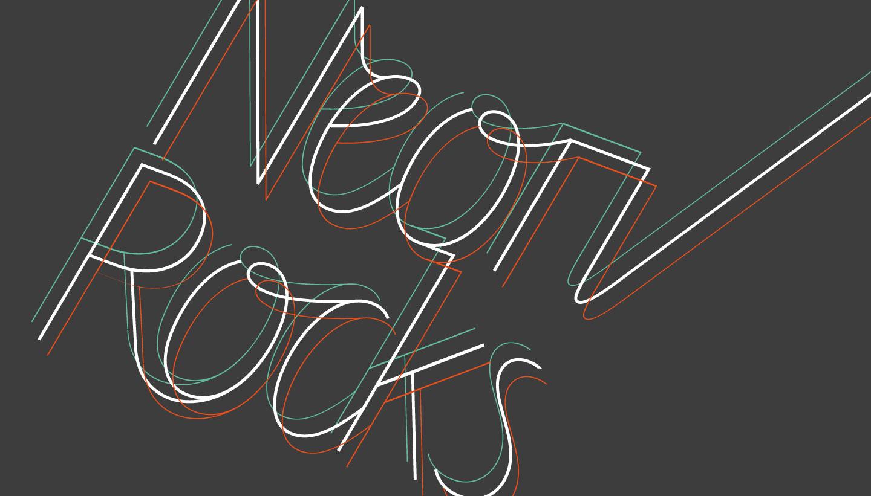 Logo design - cropped triple line version - for Neon Rocks Brighton PR agency