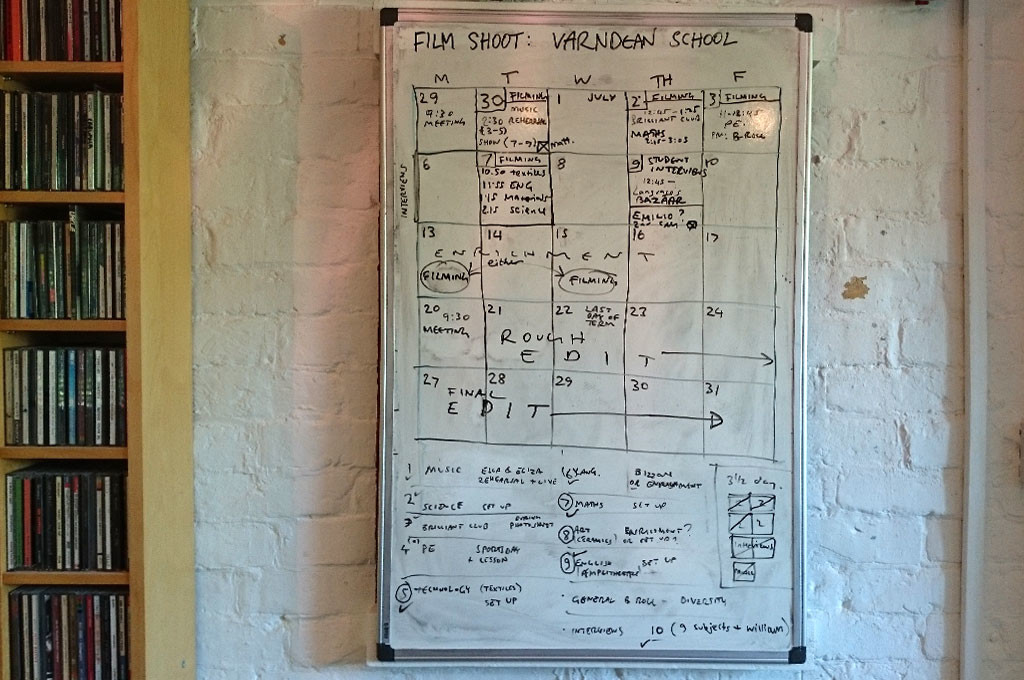 Whiteboard showing preproduction planning for Varndean School Film