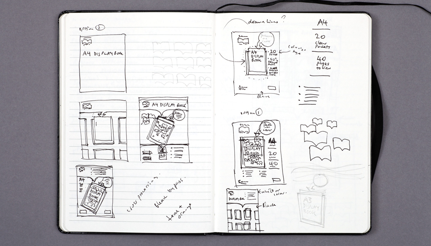 Seawhite sketchbook display book design sketch