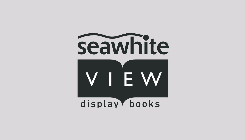 Seawhite viewbook logo design based on an open book