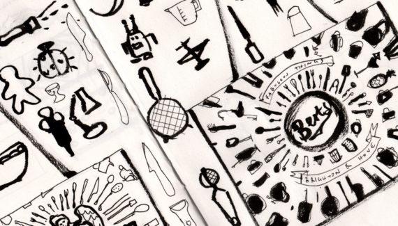 Bert's Homestore Bag Jute design - original drawings - Shadric Toop