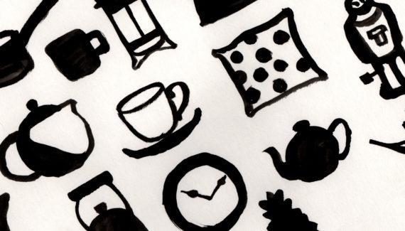 Bert's Homestore Bag design original ink drawings - Shadric Toop