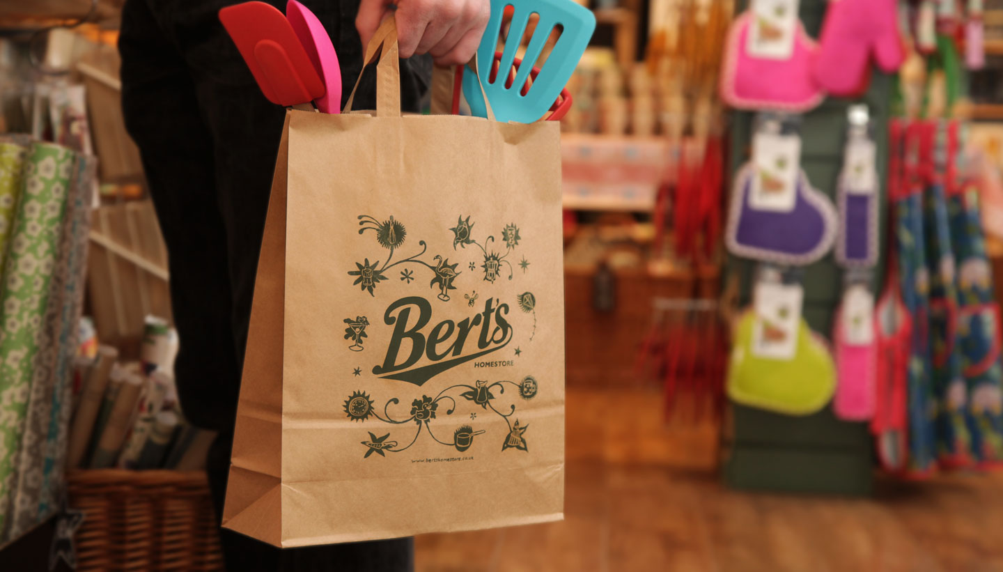 Bert's Homestore Packaging brown paper shopping bag