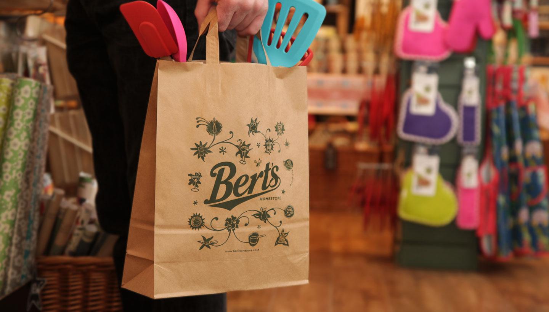 Store branding - Bert's Homestore Packaging brown paper shopping bag