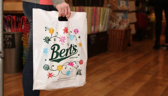 Store branding - Bert's Homestore Plastic Shopping Bag - designed by Toop Studio