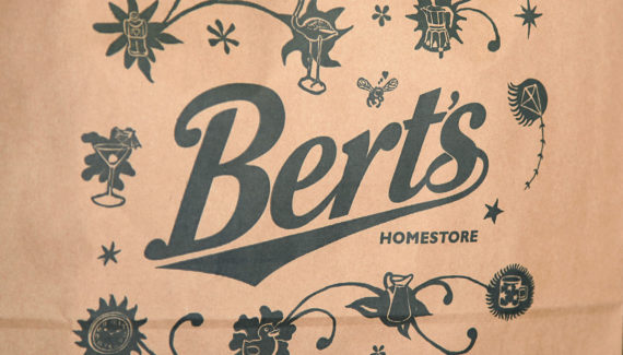 Store Branding - Bert's Homestore brown paper bag