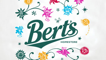 Bert's Homestore branding thumbnail - detail of plastic bag design by Toop Studio