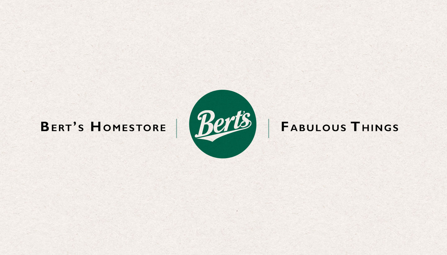 Brand Refresh - Bert's Homestore circle logo and strap-line Fabulous Things