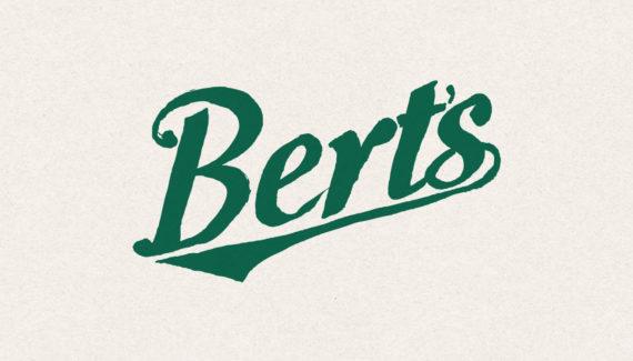 Store branding - Bert's Homestore hand painted logo