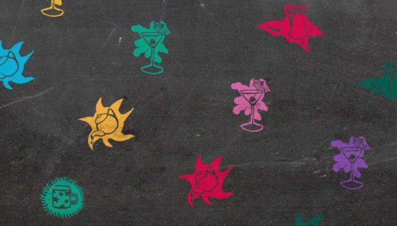 Bert's Homestore illustrated product icons on blackboard