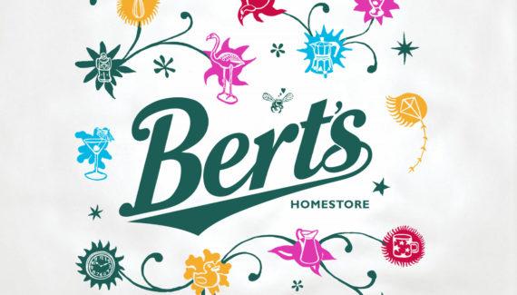 Store branding - Bert's Homestore plastic bag detail showing illustrations