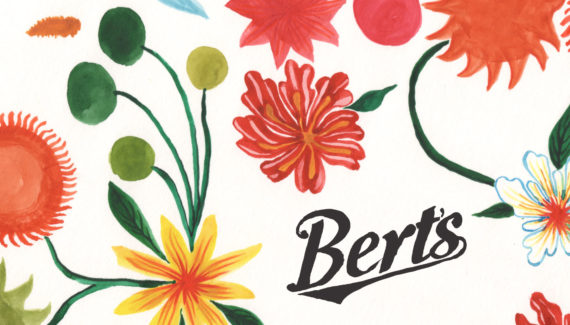 Bert's Homestore watercolour flowers design 01