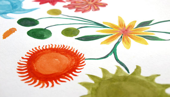 Bert's Homestore watercolour flowers design 02