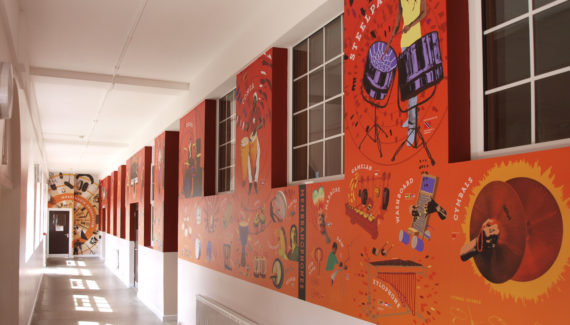 Media wall graphic corridor