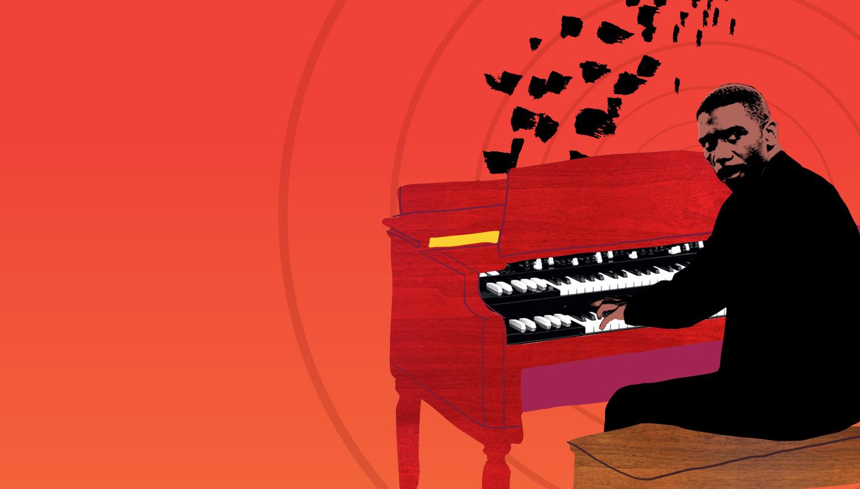 Music wall graphic hammond organ