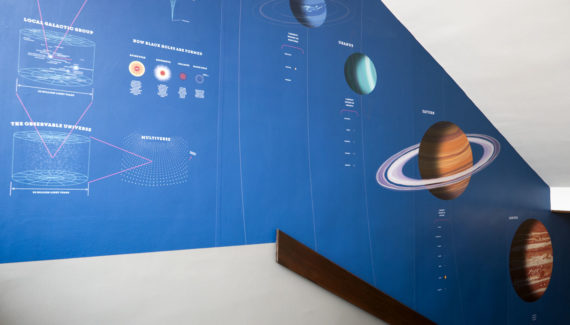 School wall graphic mural design showing infographics about black holes and the solar system