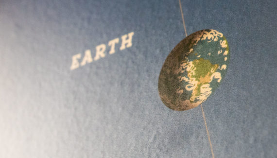 School wall graphic mural design showing the planet earth