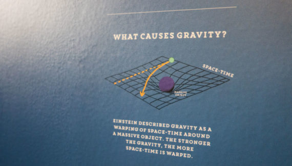 School wall graphic mural design showing a diagram about gravity