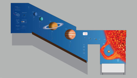school wall graphics for science stairwells - showing the solar system to scale on a stairwell wall - work by Toop Studio
