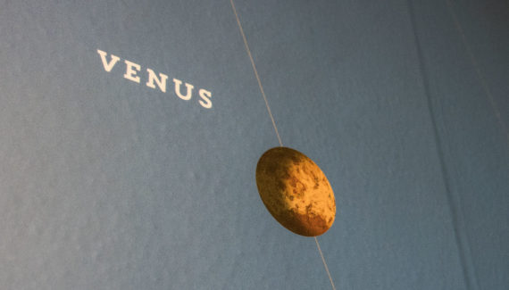 Close up of a science wall graphic showing the planet venus